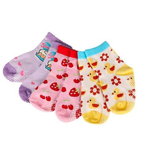 Baby Boy Girls Socks 12-24 Months 6 Pack Cotton with Grips Toddler Anti Slip Ankle Walker Crew Socks