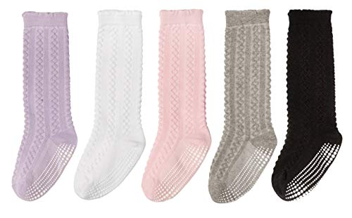 352688a6a Socks – LA Active Baby Toddler Knee High Grip Socks – 5 Pairs – Non Slip Skid  Cable Knit (Variety