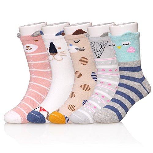 LINEMIN 6 Pairs Childrens Winter Warm Cotton Cartoon Animal Socks For Kids Boys Girls 3-12 Year Old