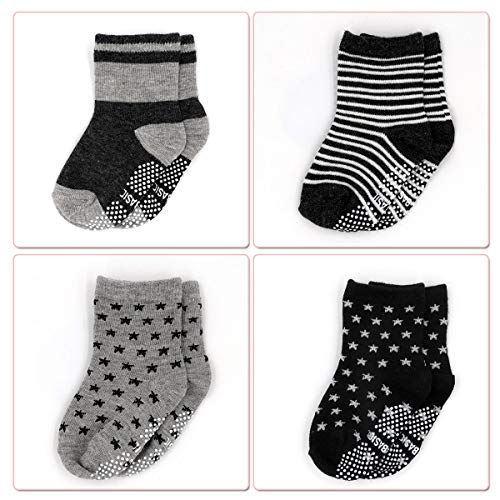 2 pairs Cute Ankle Socks Toddler Gripper Socks for 2-4 Years Old