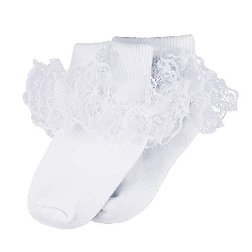 DoMii Toddler Girl Dress Socks with Ruffles Little Girl Lace Socks Eyelet Frilly Ankle Socks 3-Pack