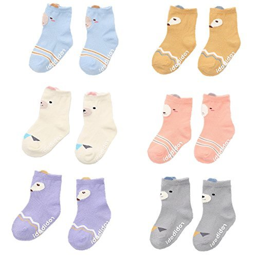 3//4 Pairs Baby Girl Boy Toddler Non-Skid Sock with Grips Anti-slip Sock 1-3 yrs