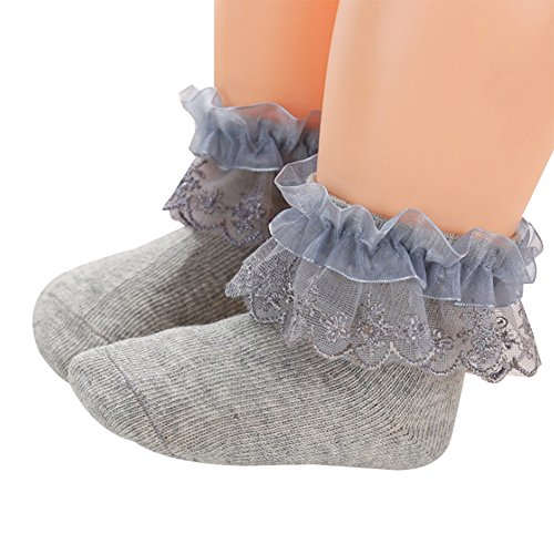 Baby Girl Cotton Socks Princess Lace Ruffles Ankle Socks for Infant /& Toddler